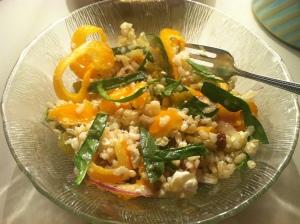 Greek summer rice salad
