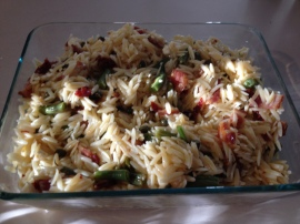 Orzo salad with bacon, beans & sun dried tomatoes