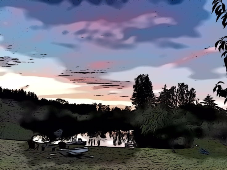 Pond sunset-PS